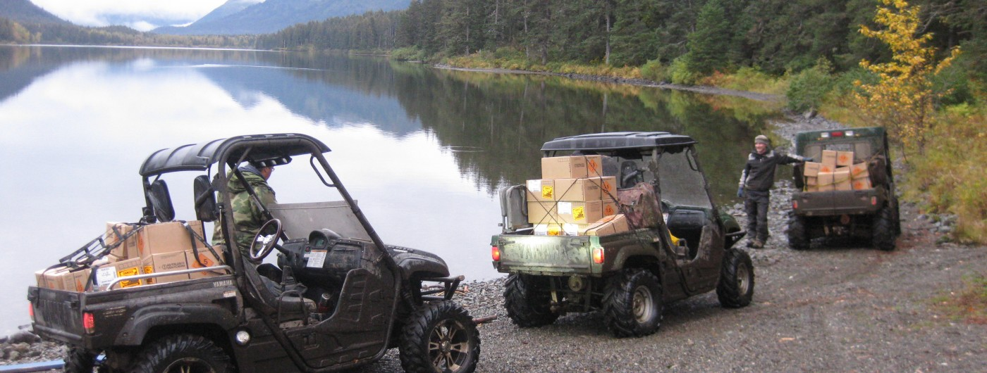 ATV's Transporting Supplies to a Remote Construction Site in Alaska
